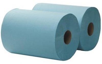 2-laags Maxirol poetsrol, 360 m x 36 cm, recycled, blauw