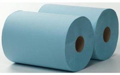 3-laags Maxirol poetsrol, 180 m x 36 cm, recycled, blauw