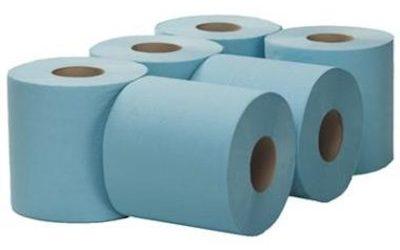 2-laags Midirol poetsrol, 150 m x 20 cm, recycled, blauw