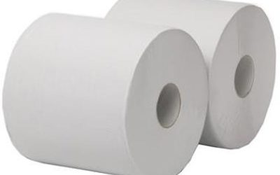 2-laags Maxirol poetsrol, 555 m x 25 cm, recycled, wit