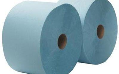 2-laags Maxirol poetsrol, 360 m x 23 cm, recycled, blauw